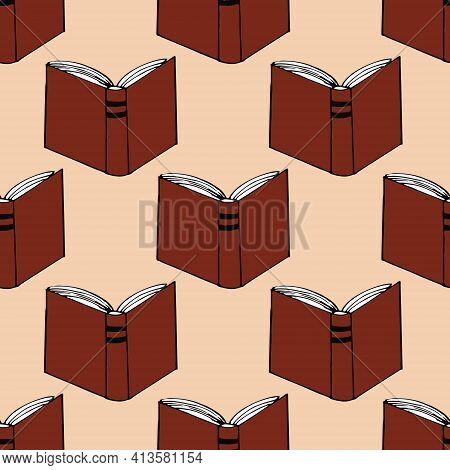 Books Seamless Pattern. Hand Drawn Doodle Style. Vector, Minimalism, Sketch. Wallpaper, Textile, Wra