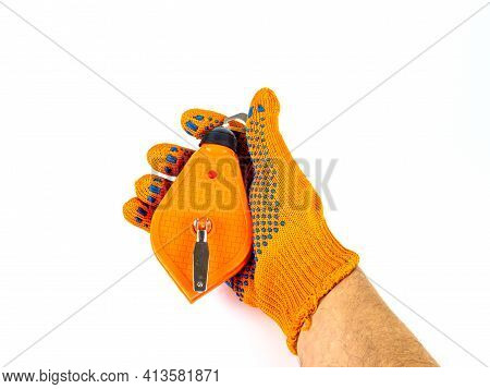 Chalk Thread For Marking The Surface Of The Walls In The Hand Of The Builder. Painting Cord. Trace C
