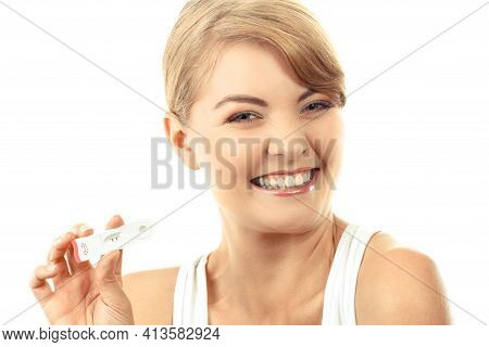 Happy Delighted Woman Showing Pregnancy Test With Positive Result, Checking Pregnancy Test, Expectin