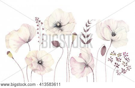 Floral card with delicate poppies, watercolor isolated illustration flowers and branches, border, banner, template for invitation or greeting card.