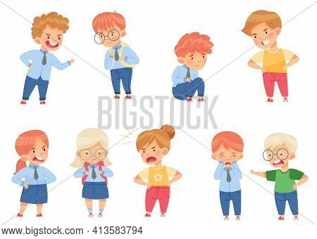 Angry Kids Bullying And Abusing The Weak Agemate Teasing And Laughing At Them Vector Set