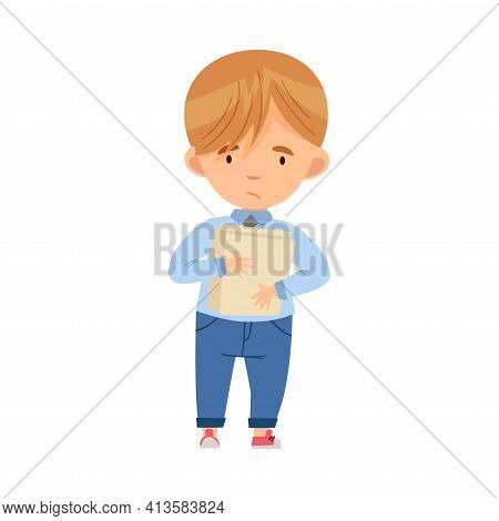 Bullied Boy Standing Suffering From Mockery And Sneer At School Vector Illustration