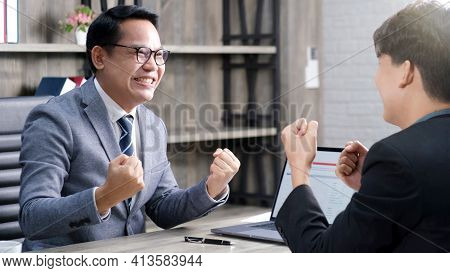 Business Success Corporate, Asian Businessmen Smiling And Arms Up After Success Job With Partner, Ha