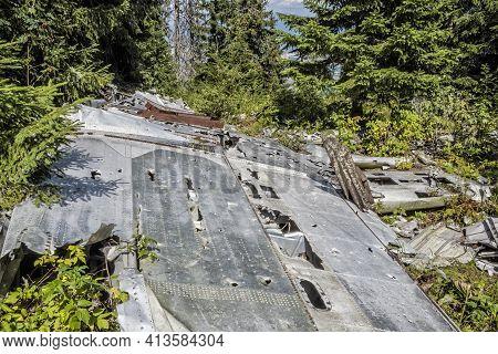 Crashed Airplane, Slema Hill, Low Tatras, Slovak Republic. Memorial Of Slovak National Uprising. Tra