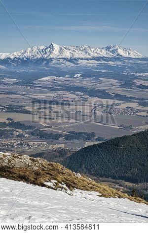 Krivan Peak From Low Tatras, Slovak Republic. Hiking Theme. Seasonal Natural Scene.