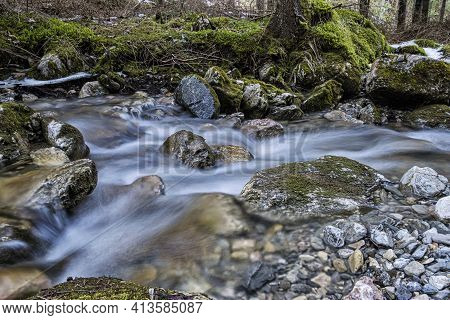 Water Stream, Ilanovska Valley, Low Tatras, Slovak Republic. Hiking Theme. Seasonal Natural Scene.