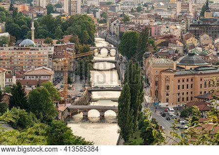 View of the historic centre of Sarajevo , Bosnia and Herzegovina