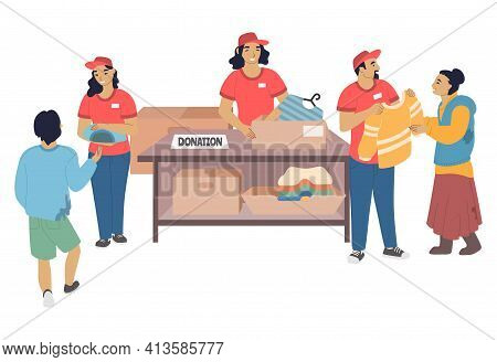 Volunteers Donating Clothes To Homeless And Poor People, Flat Vector Illustration. Homeless Aid, Vol