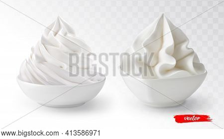 Set Of Whipped Cream In White Bowl Isolated. 3d Realistic Vector Illustration Of Whipped Cream.
