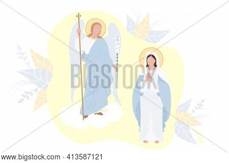 Annunciation Of The Most Holy Theotokos. Virgin Mary, Mother Of Christ In A Blue Maforia And Archang