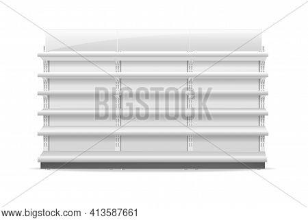 Shelving Rack For Store Trading Empty Template For Design Stock Vector Illustration Isolated On Whit