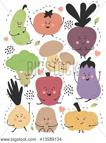 Cute Funny Vegetables Set. Healthy Organic Food. Smiling Characters Collection.cucumber, Tomato,beet