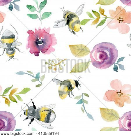 Watercolor Summer Meadow Flowers Seamless Pattern, Yellow Wildflowers. Botanical Floral Texture On W
