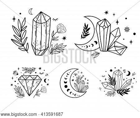 Celestial Set. Moon Crystal Set. Cute Magic Celestial Crystals, Stars, Flowers, Leaves. Mystical Moo