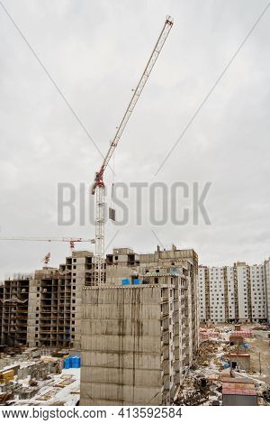 New Construction Of An Unfinished Multi-storey Residential Building. Multi-storey Residential Buildi