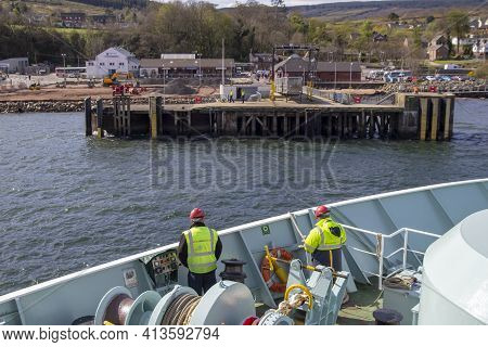 Brodick, North Ayrshire, Scotland, Uk - April 23, 2016: Ferry Arriving In Brodick On The Isle Of Arr