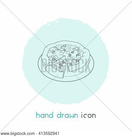 Italian Pizza Icon Line Element. Vector Illustration Of Italian Pizza Icon Line Isolated On Clean Ba