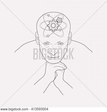 Technical Mind Icon Line Element. Vector Illustration Of Technical Mind Icon Line Isolated On Clean