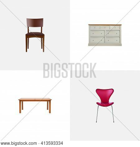 Set Of Decoration Realistic Symbols With Wardrobe, Furniture, Stool And Other Icons For Your Web Mob