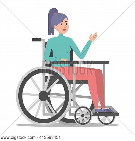 Disabled Woman In The Wheelchair Vector Isolated