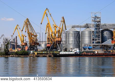 Odessa, Ukraine Marine Industrial Commercial Port. Industrial Zone Of Odessa Sea Port. Container Cra