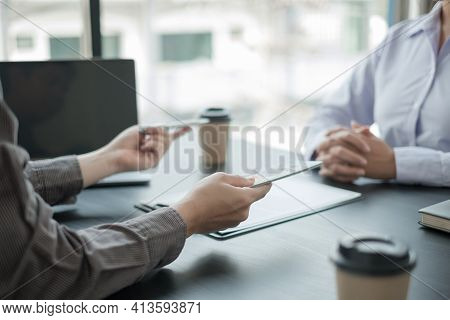 Corruption. Businessmen Make An Agreement With The Money Proposed His Partner To Bribe In The Office