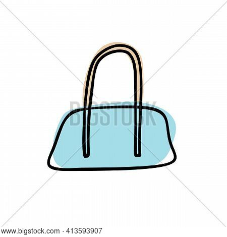 Hand Drawn Wheeled Duffel Bag. Vector Illustration Of Blue Travel Bag. Drawing Of Travel Bag Isolate