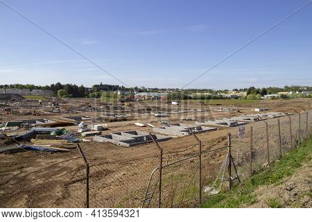 East Kilbride, South Lanarkshire, Scotland, Uk - May 13, 2019: New Houses Being Built On The Old Rol
