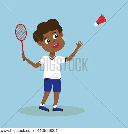 Boy Playing Badminton. African American Kid With Badminton Racket And Shuttlecock. Black Child Pract