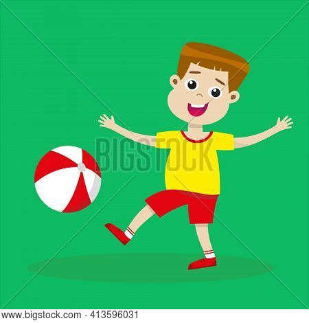 Cute Boy Playing With Ball. Smiling Kid With Beachball. Happy Childhood Concept. Summer Activities.