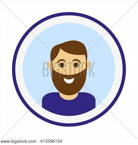Smiling Man Face With Brown Hair And Big Beard. Male Face. Man Avatar On Blue Background. Handsome M