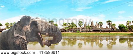 Horizontal banner with elephant (Elephas maximus) on blue sky background with famous khmer temple complex Angkor Wat (Angkor Thom), Siem reap, Cambodia, Indochina