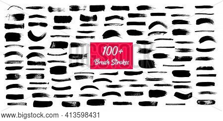 Brush Strokes, Grunge Black Ink Lines, Vector Abstract Set With Paint Brush Grunge Texture On White