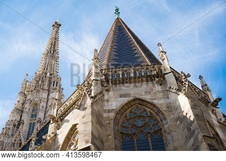 Saint Stephens Cathedral In Vienna Downtown. Most Famous Landmark In Austria. View To The Backside O