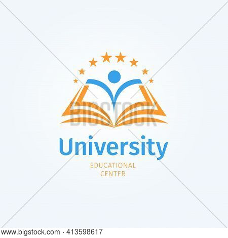 School Logo. Open Book And Student Silhouette. Knowledge And Education Symbol. University, Library A