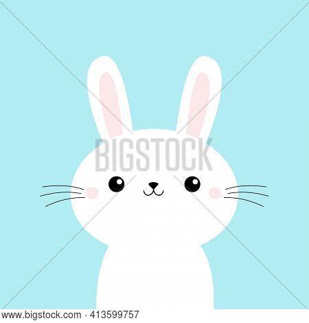Cute Bunny Rabbit Face Head. Cartoon Kawaii Funny Smiling Baby Character. Long Ears. Farm Animal Col