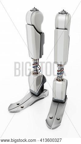 Modern Prosthetic Leg Isolated On White Background. 3d Illustration.