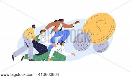 Greedy People Chasing For Big Money. Cash Race Concept. Competitors Striving For Richness And Wealth