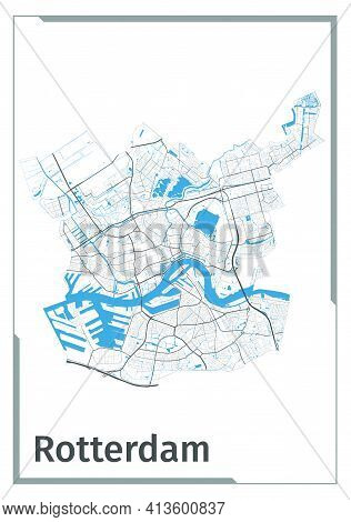 Rotterdam Map Poster, Administrative Area Plan View. Black, White And Blue Detailed Design Map Of Ro