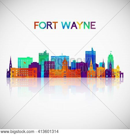 Fort Wayne Skyline Silhouette In Colorful Geometric Style. Symbol For Your Design. Vector Illustrati