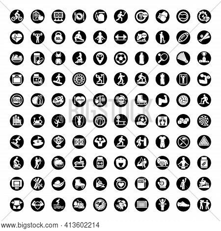 100 Fitness And Sport Vector Icons For Web And Mobile. All Elements Are Grouped