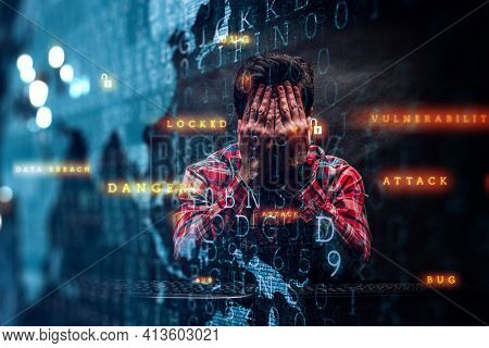 Hacker in casual clothes dark theme