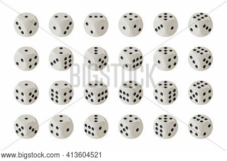 Set Of Game Dices In Isometric Projection Isolated On A White Background, All Possible Variants. Gam