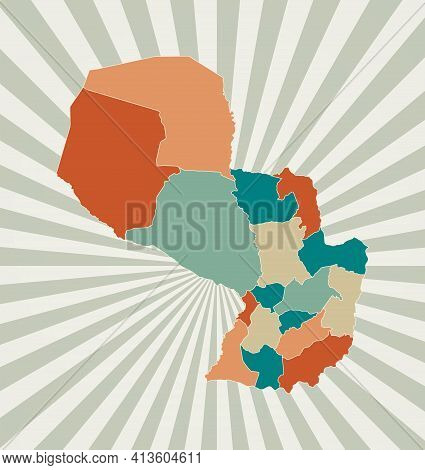 Paraguay Map. Poster With Map Of The Country In Retro Color Palette. Shape Of Paraguay With Sunburst
