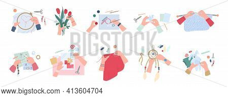 Workshop Handcraft With Various Creative Handmade Crafts A Vector Illustrations.