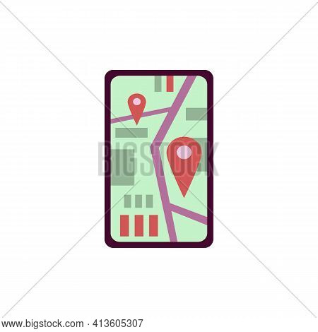 Mobile Phone Screen With City Map In Gps Navigation And Pinpoints Of Location