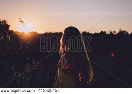Mindfulness, Positive Mind, Living In Present Moment, Slow Life. Outdoor Portrait Of Young Blonde Ha