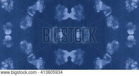 Water Color Paint Texture. Indigo Denim Oil Pattern. Handmade Wallpaper. Abstract Aquarelle Texture.