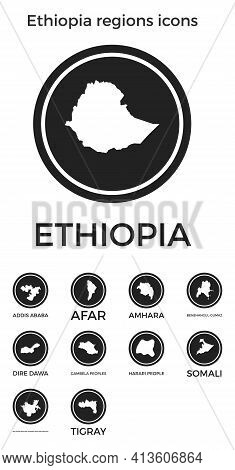 Ethiopia Regions Icons. Black Round Logos With Country Regions Maps And Titles. Vector Illustration.