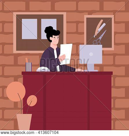 Receptionist Of Hairdresser Salon Or Barber Shop, Cartoon Vector Illustration.